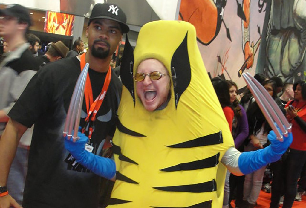 man dressed in a Wolverine-banana costume