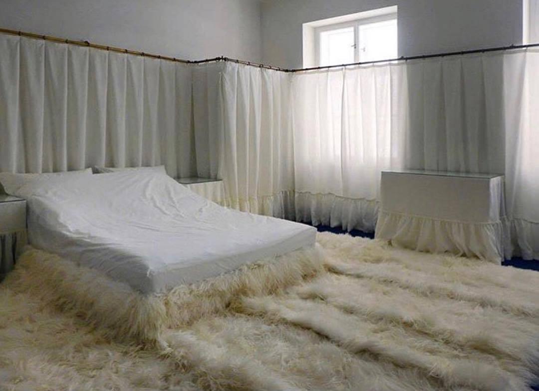 white shag carpet on bedroom floor