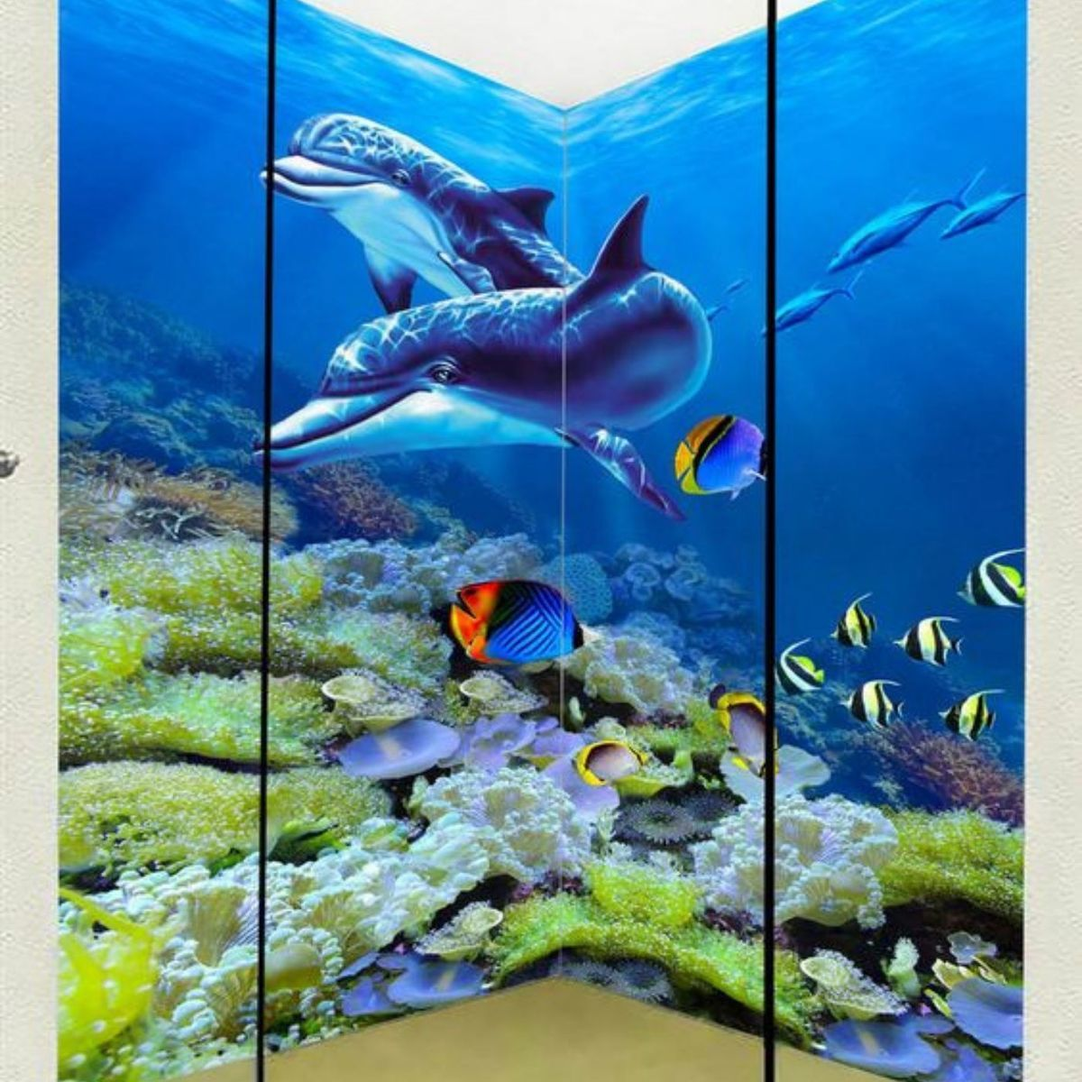 mural in shower of a dolphin and fish underwater