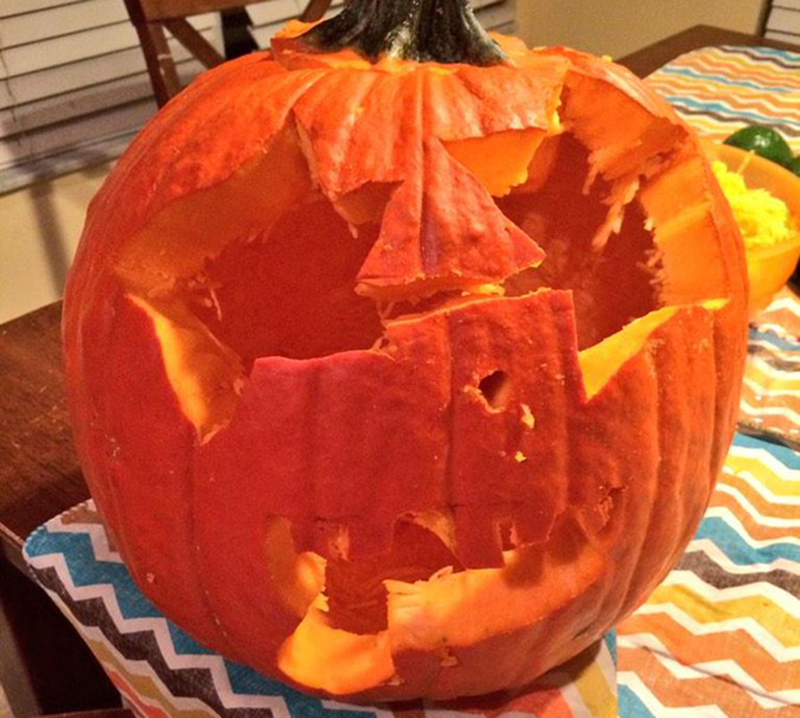 Pumpkin with poorly-cut starry eyes