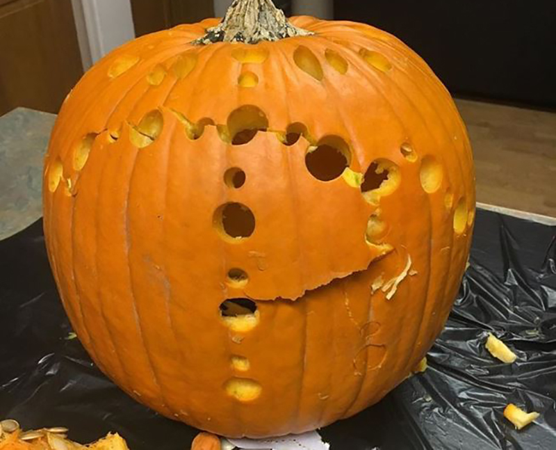 Pumpkin carving with randomly-placed holes