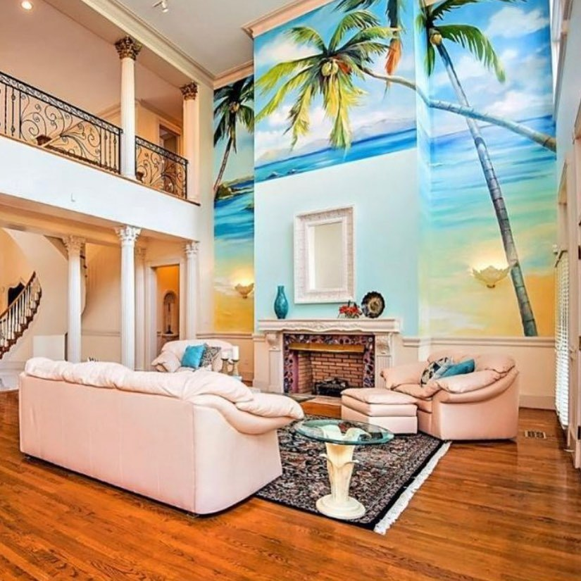 palm tree wall mural in living room