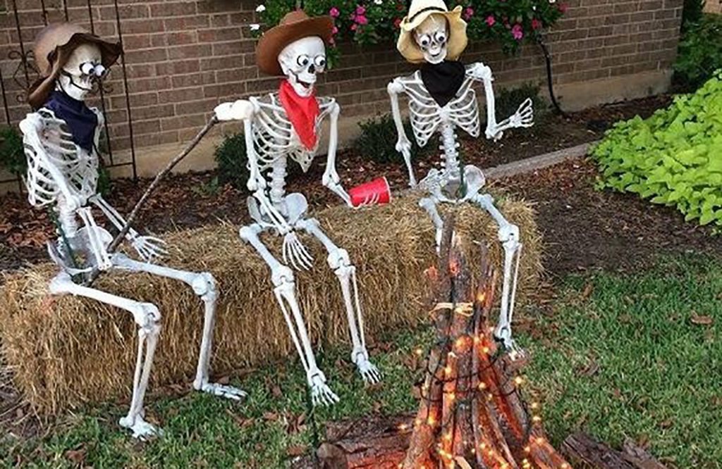 Skeletons roasting marshmallows