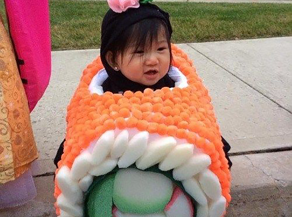 Girl dressed up as sushi
