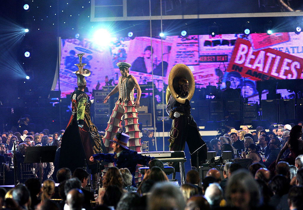 Cast members from the Beatles 'Love' by Cirque du Soleil perform onstage