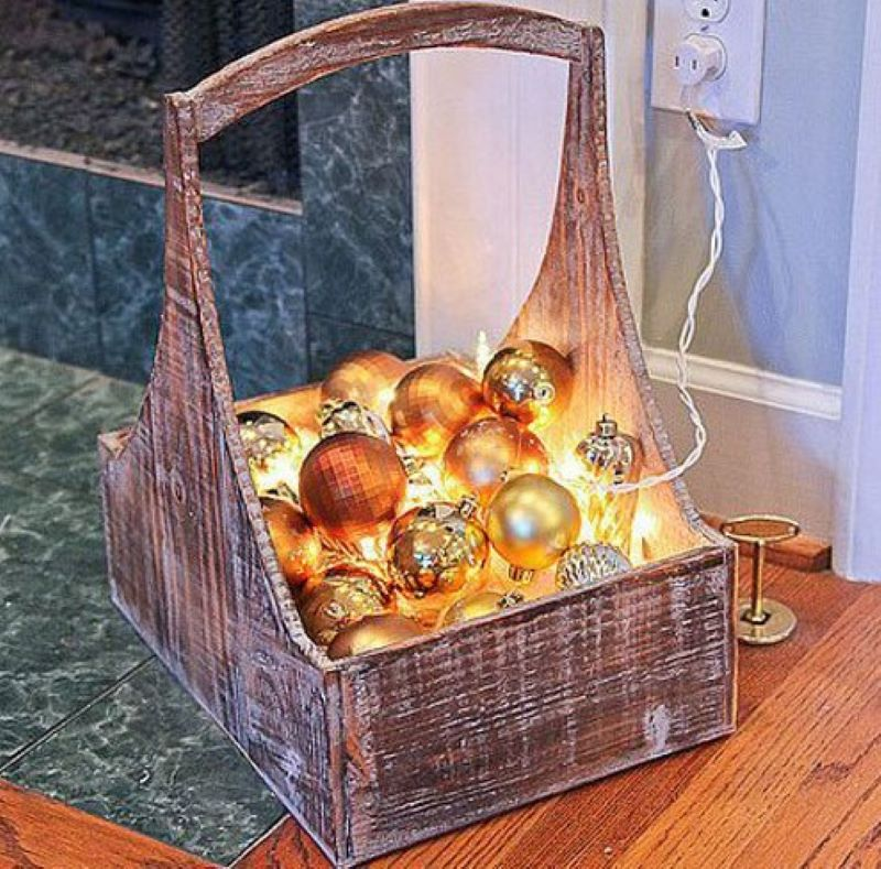 Brighten Up A Wooden Basket Using Lights And Ornaments