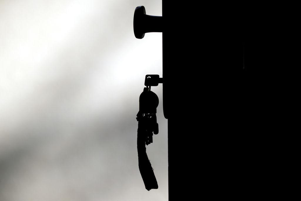 Brandenburg, Potsdam: A key on a bunch of keys is stuck in a front door.