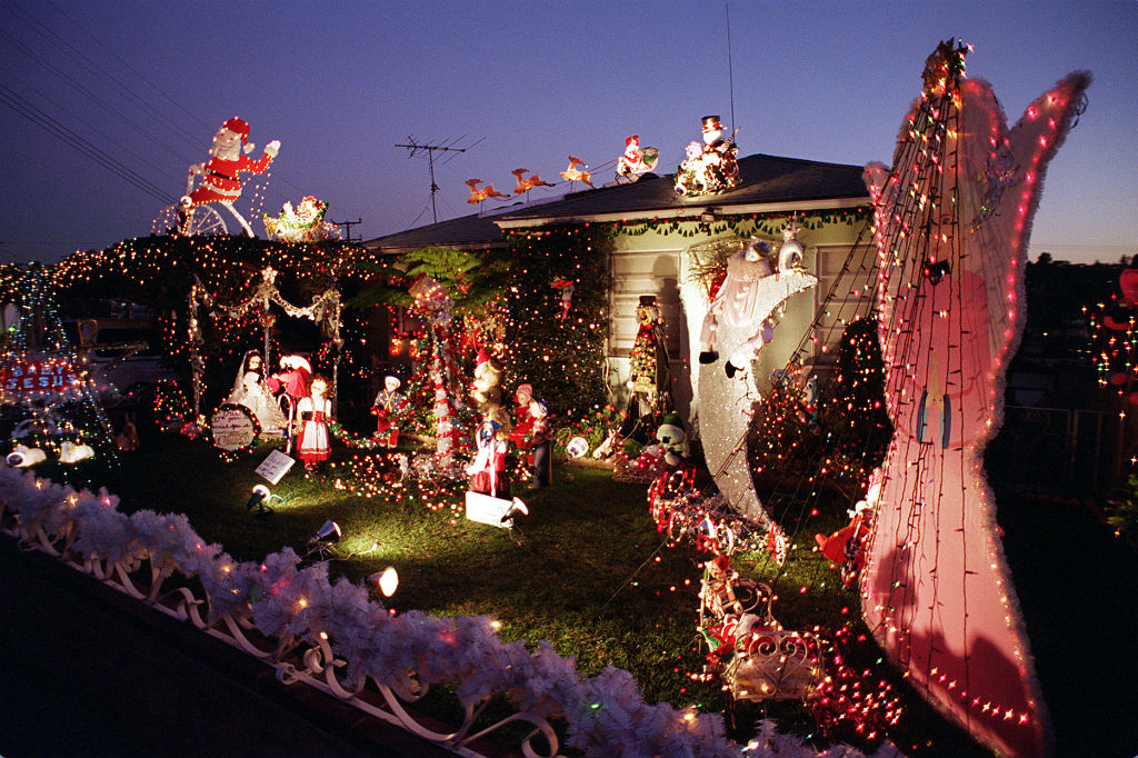 yard filled with decorations