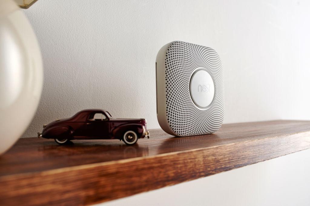 a carbon monoxide detector and a toy car
