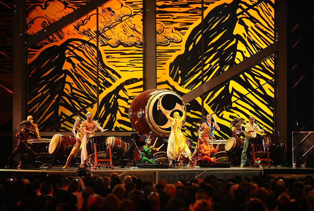 Musicians from Cirque du Soleil Mystere perform onstage