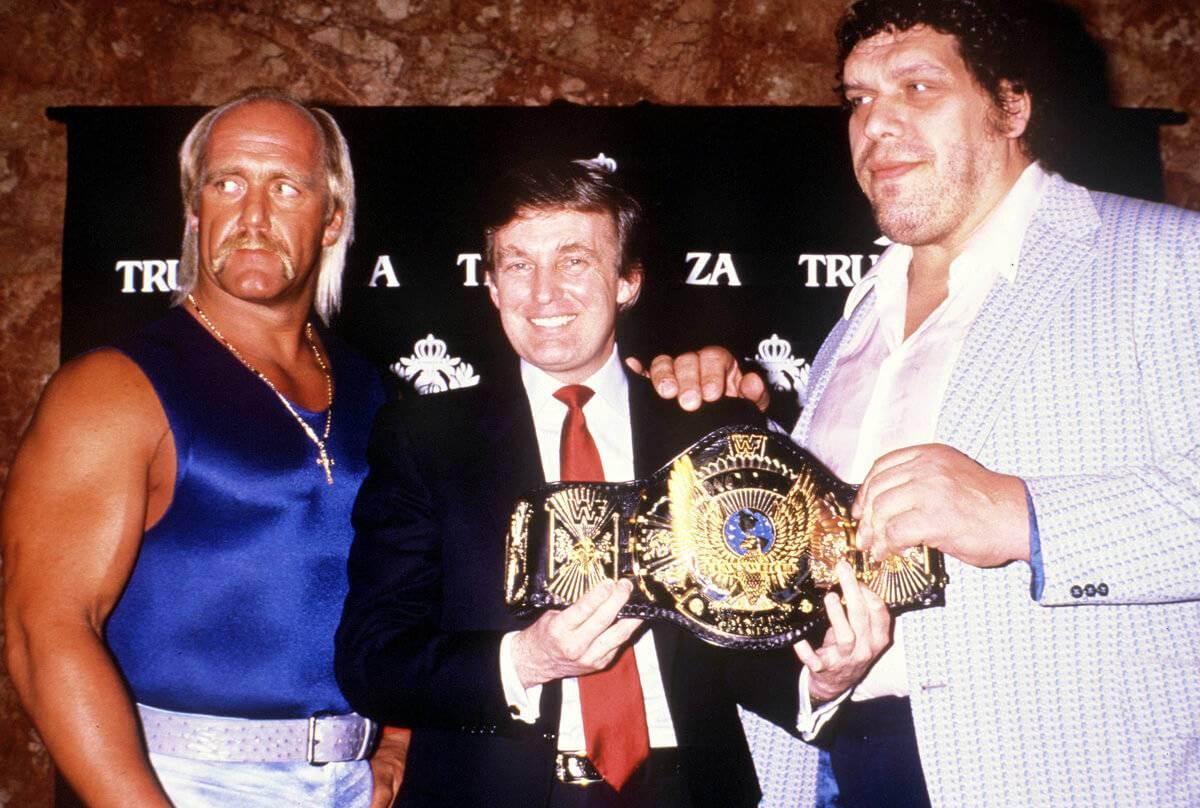 andre the giant, donald trump, hulk hogan