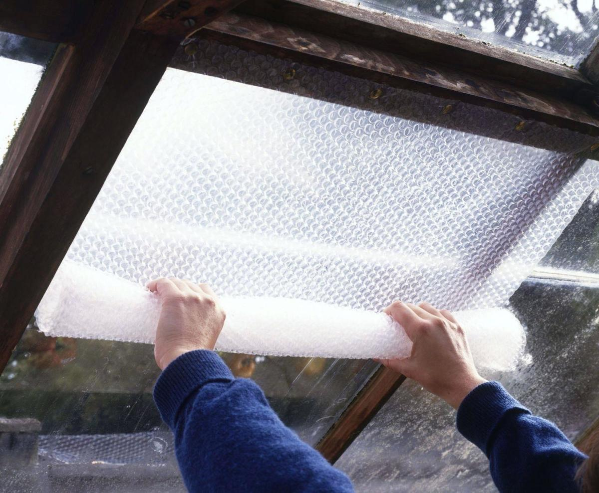 bubble wrap covering a window