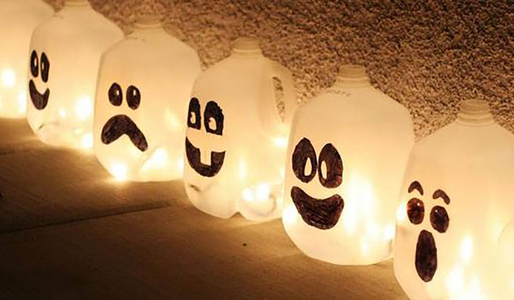 Milk cartons turned into jack o lanterns