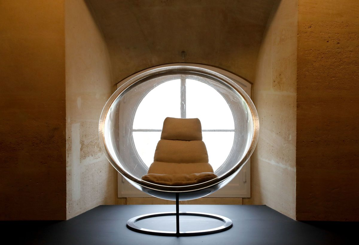 A bubble chair by Christian Daninos is exhibited in the
