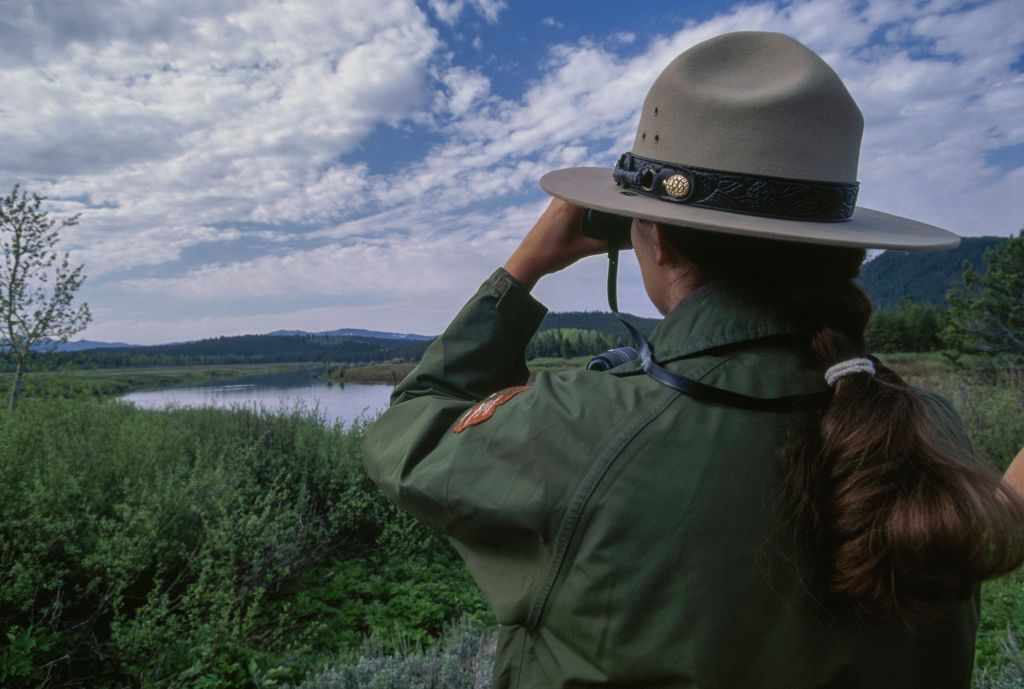 A park ranger looks through binoculars.