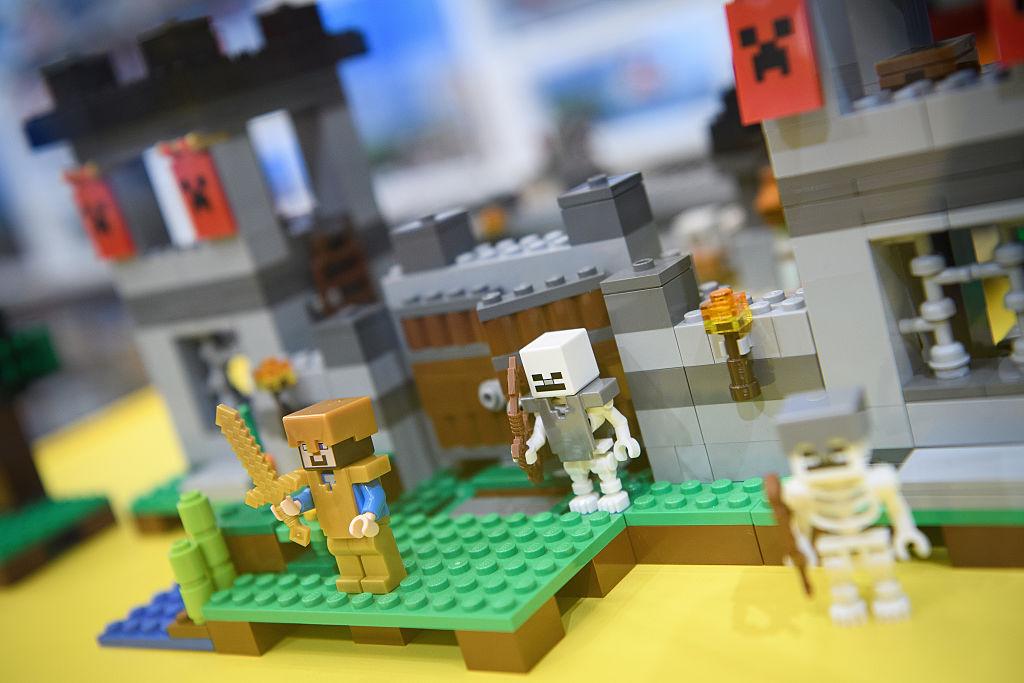 Lego minecraft pieces are built like a castel.