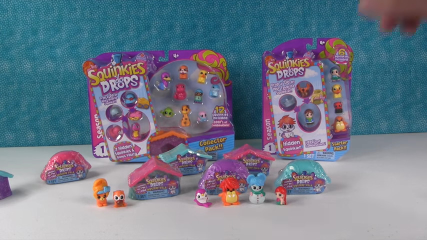 Packages of squinkies are placed on display.