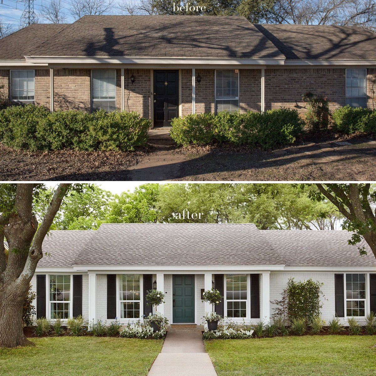 A house on the show 'Fixer Upper' (top) is renovated (bottom).