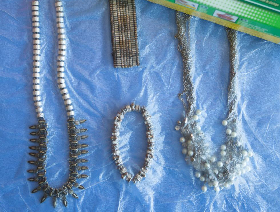 Necklaces and bracelets are stored safely in cling wrap.