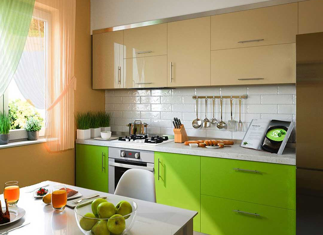 A kitchen features lime green cabinets.