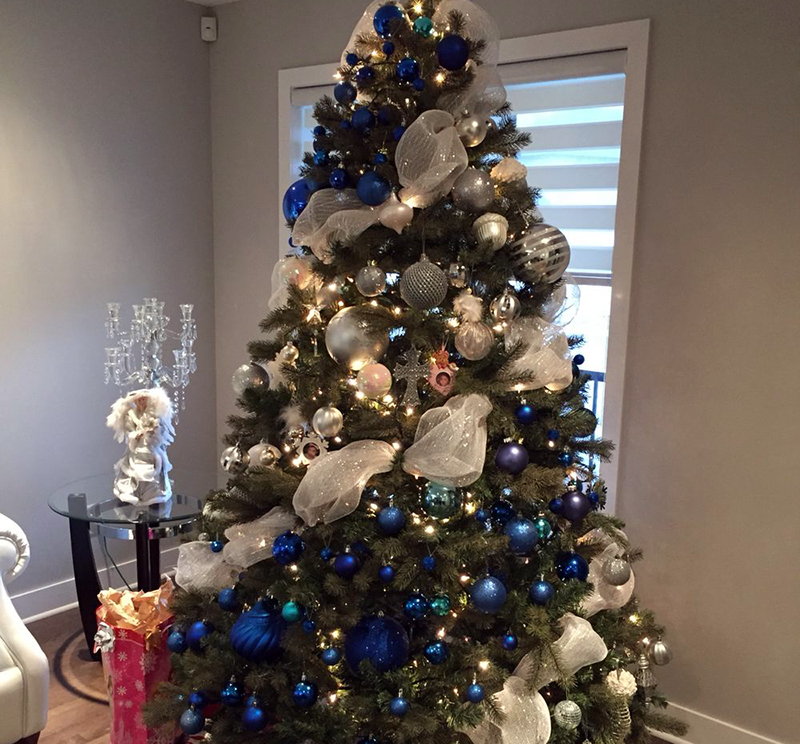 A tree is decorated with alternating blue and white decorations.