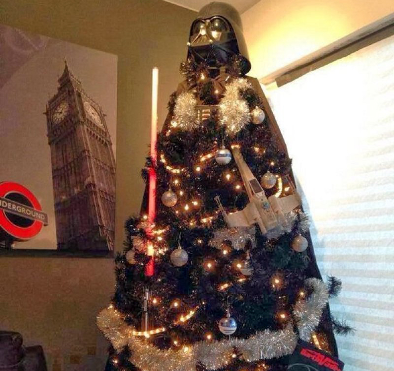 A Christmas tree is made to look like Darth Vader.