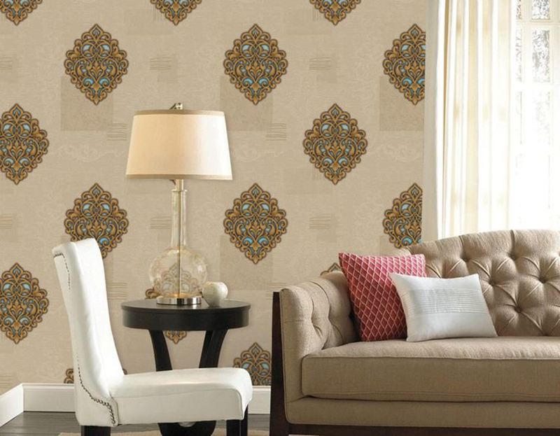 A living room features a damask wall.