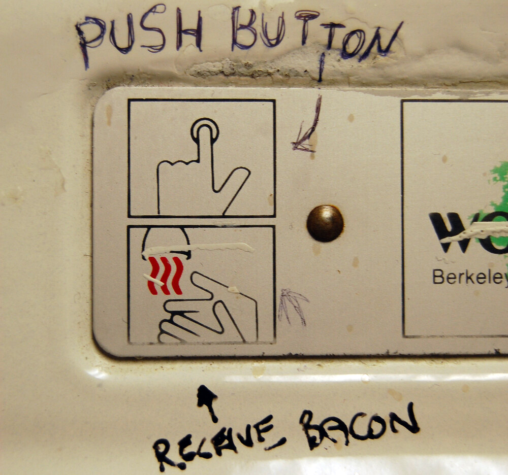 A hand dryer reads