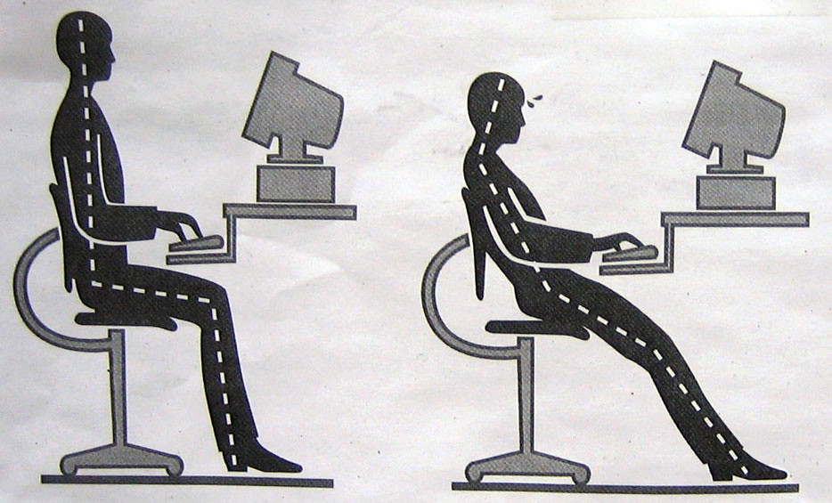 A diagram demonstrates healthy posture (left) and poor posture (right) while sitting in a desk.