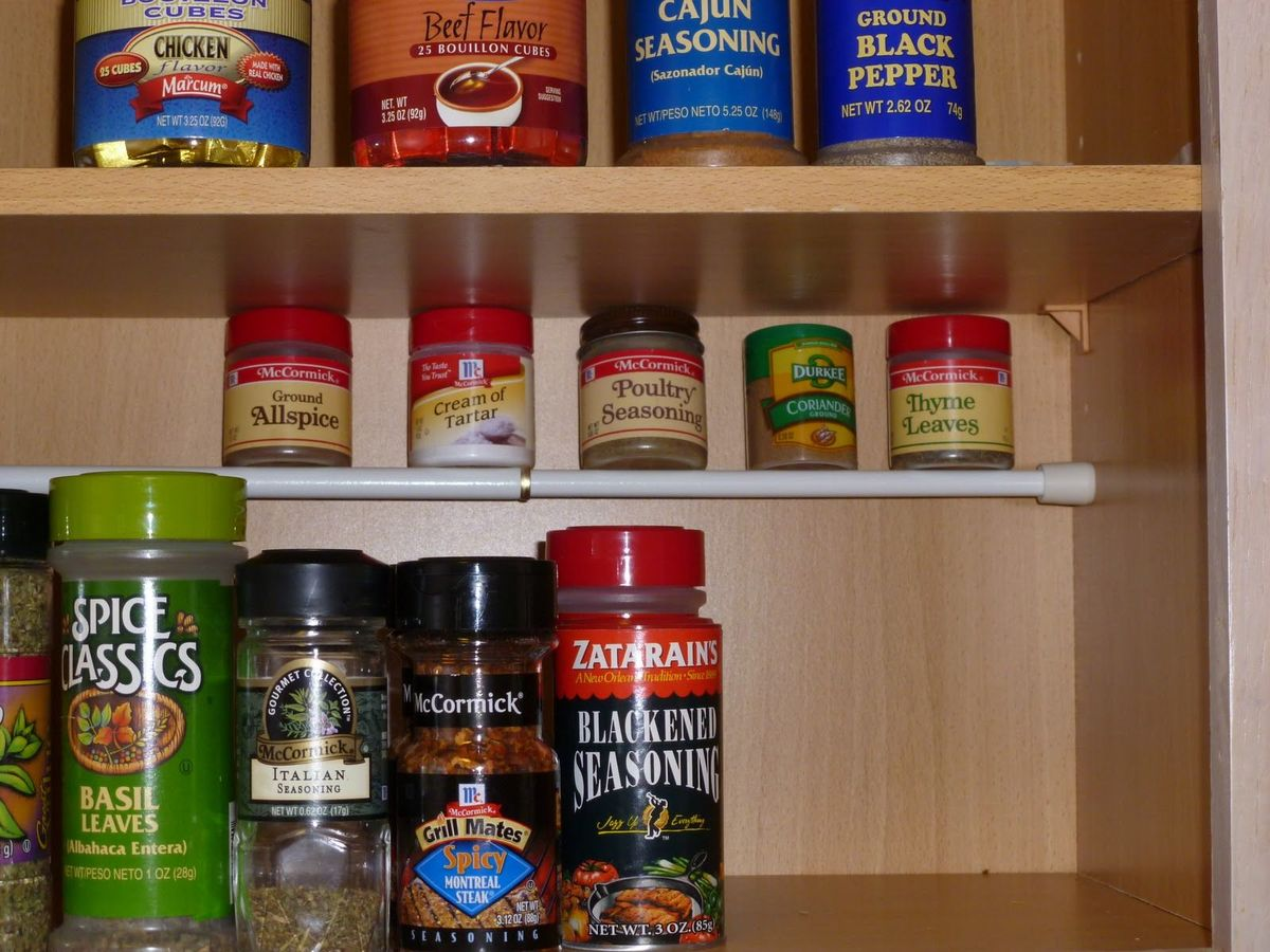 tension rod spice rack