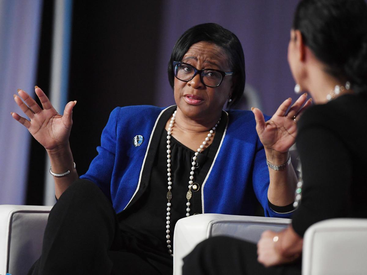 Dallas Mavericks CEO Cynthia Marshall speaks at the Black Enterprise Women.