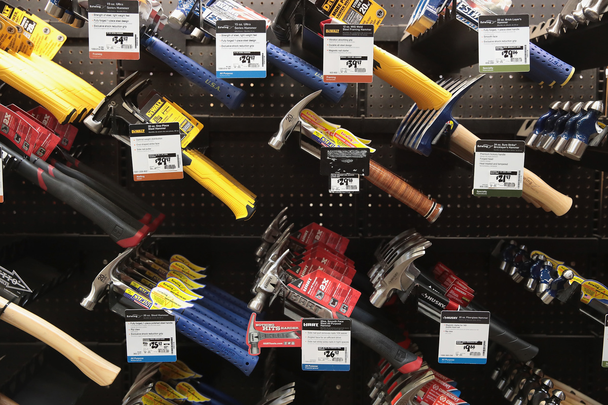 Tools are offered for sale at a Home Depot store.