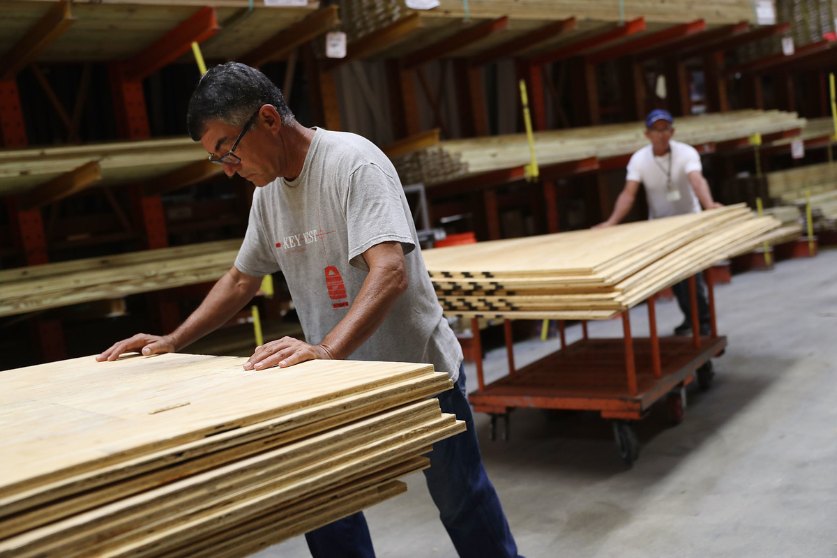 People purchase plywood from the Home Depot.