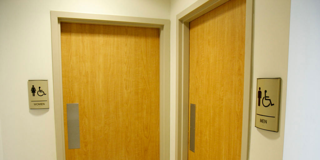 Public restroom door signs