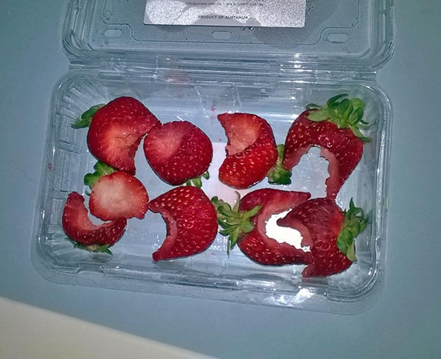 strawberries in carton with bites taken out