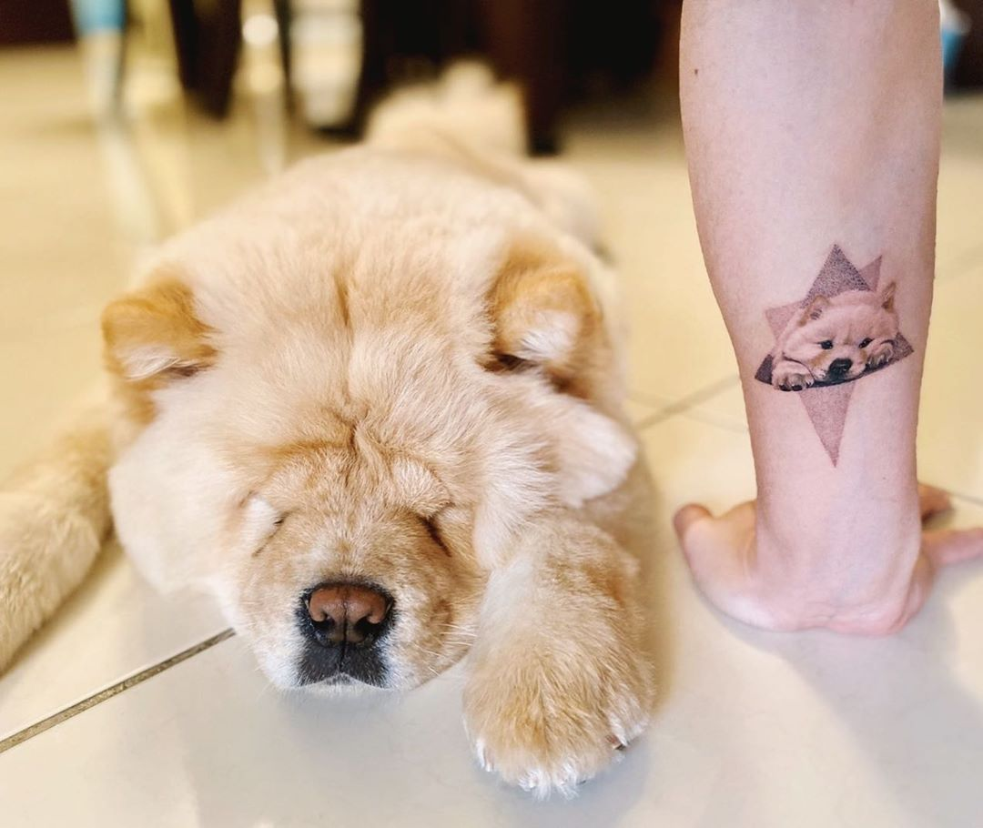 sleeping chow tattoo