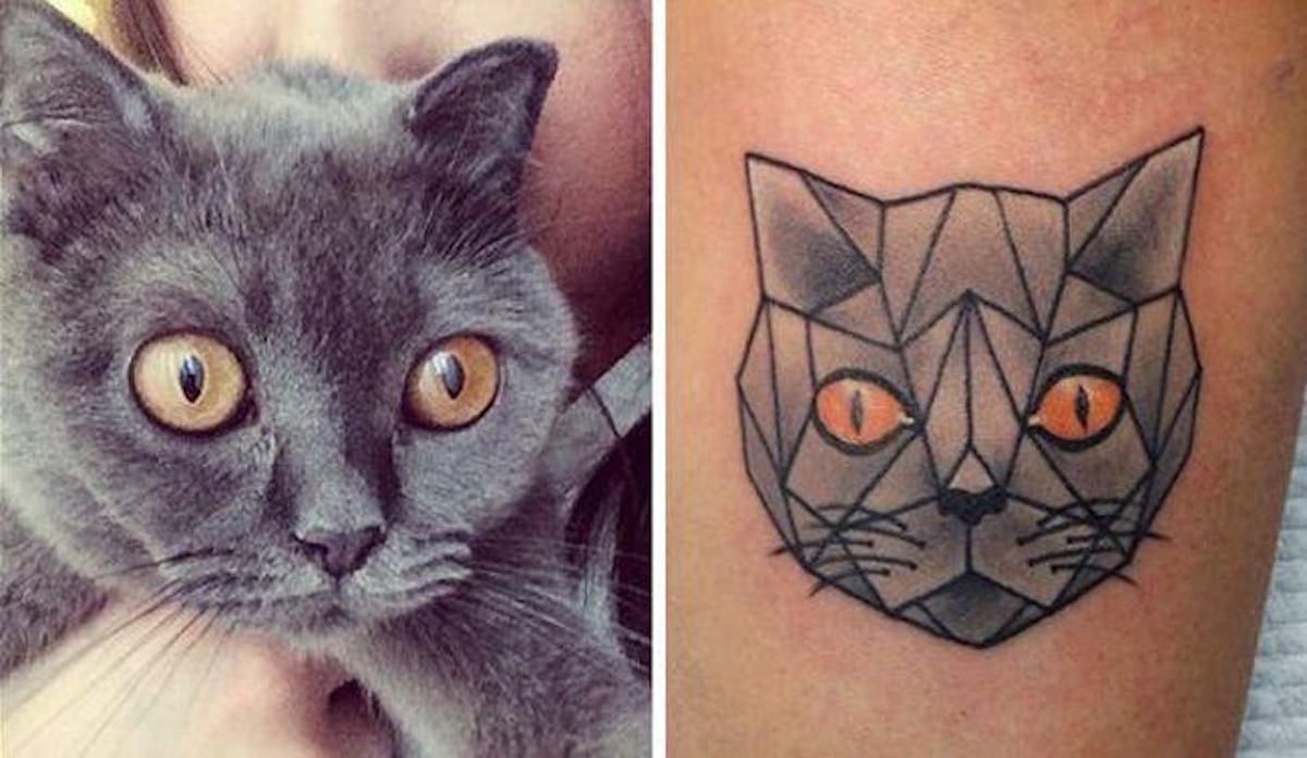 grey cat tattoo