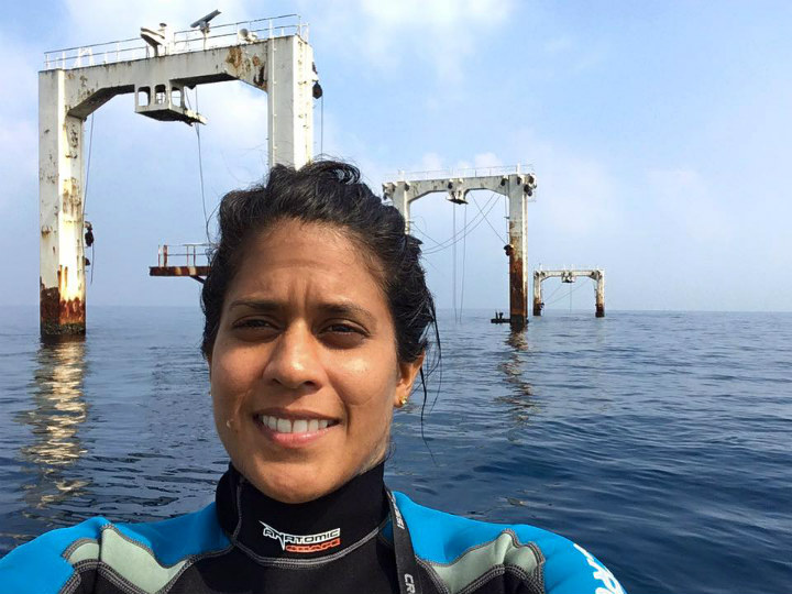 Asha-de-Vos takes a selfie in the water