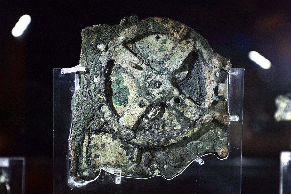 A picture taken at the Archaeological Museum in Athens shows the Antikythera Mechanism.