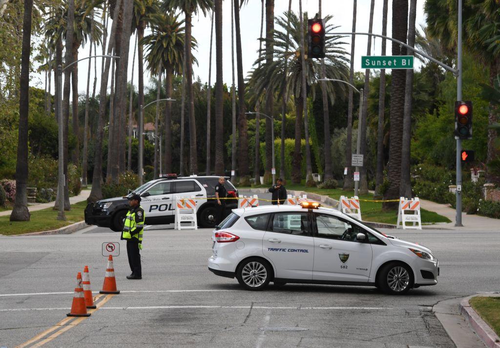 Police block access to Sunset Blvd