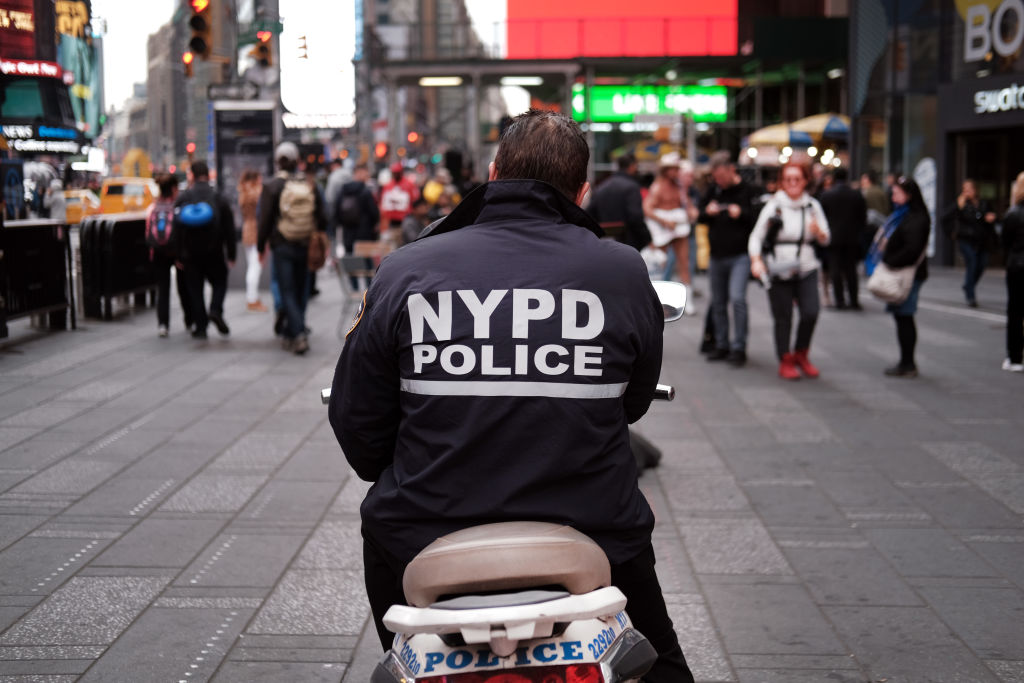 A police officer sits on a scooter in Times Square on November 05, 2019 in New York City.
