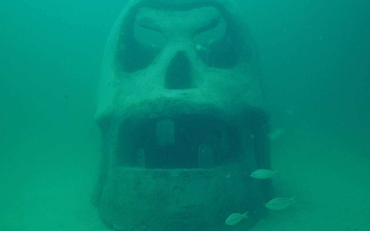 The Underwater Museum of Art in Florida features an enormous skull sculpture.