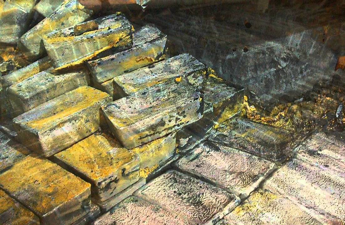 Silver bars appear in the Gairsoppa World War II ship underwater.
