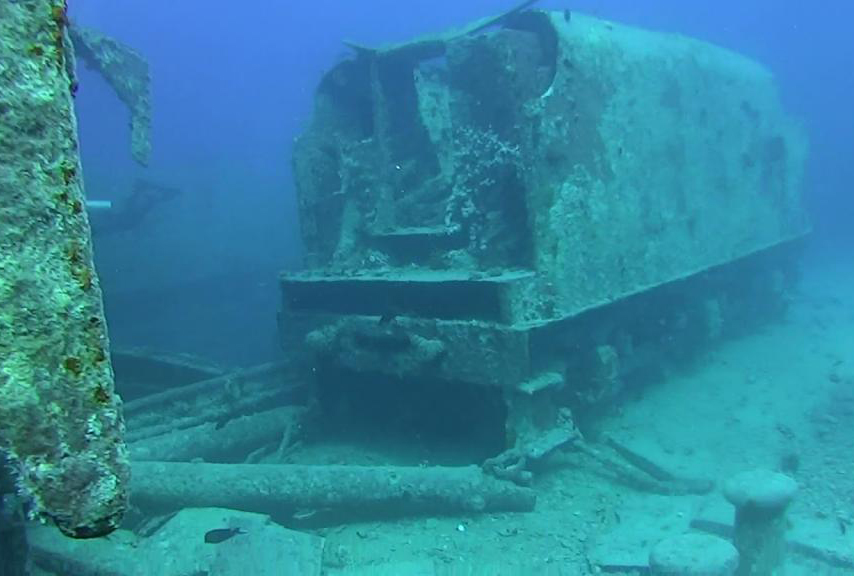 A train from the 1850s is submerged underwater in New Jersey.