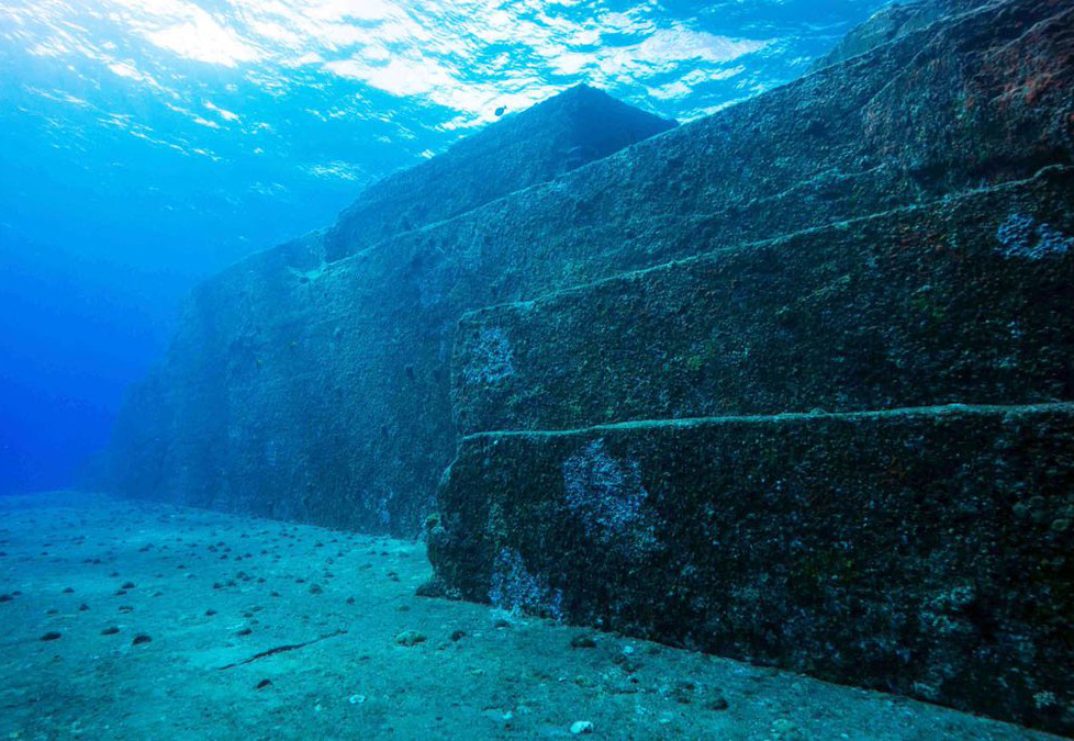 The stone slabs of the yonaguni monument, an underwater pyramid, are seen.