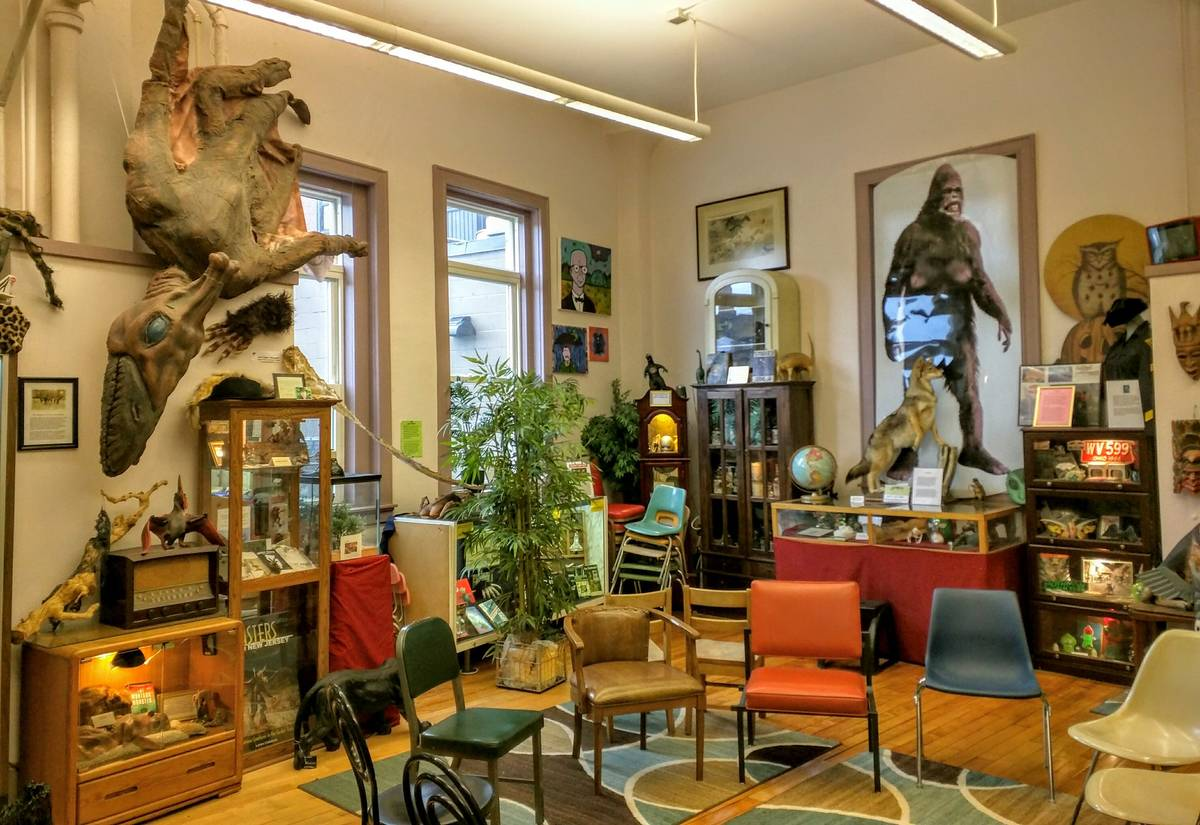 The inside of the International Cryptozoology Museum displays artifacts of mythological creatures.
