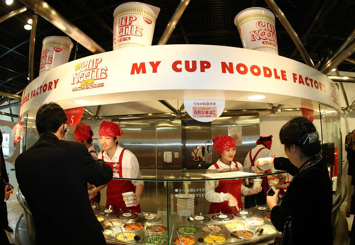 Visitors order their own cup noodles at the Instant Ramen Museum.