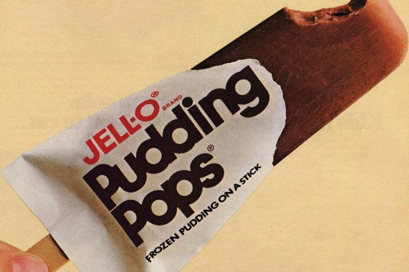 a chocolate jell-o pudding pop with a bite mark