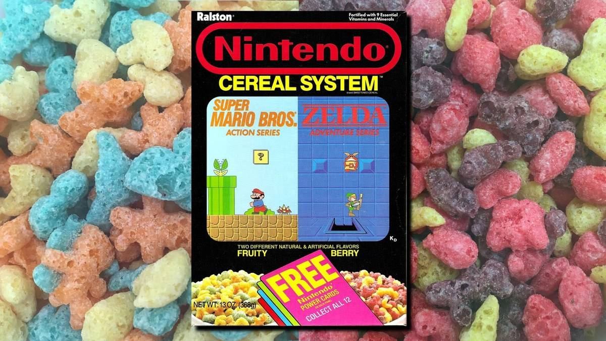 a box of nintendo cereal with the colorful cereal shapes in the background