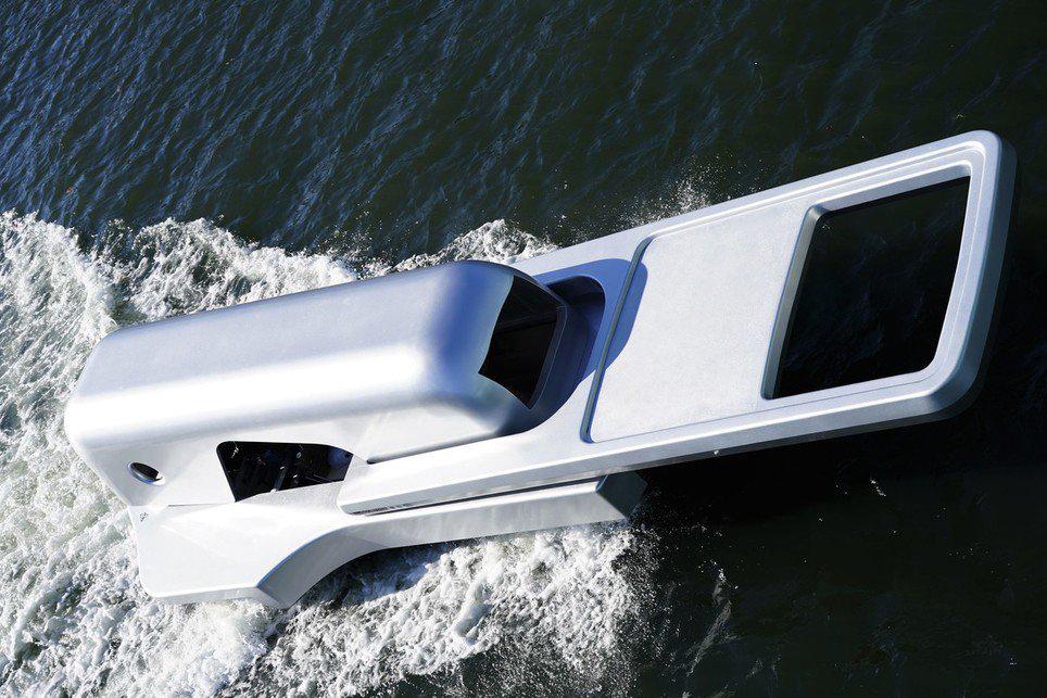 The Zipper Boat sails across the sea.